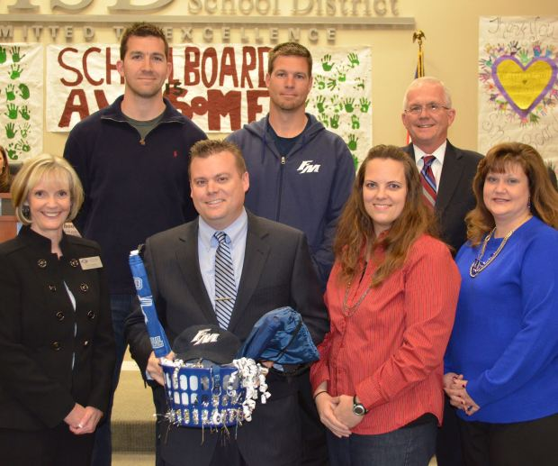 Announcing Will Skelton as FMHS's 9th Grade Campus principal at a town council meeting earlier in January.